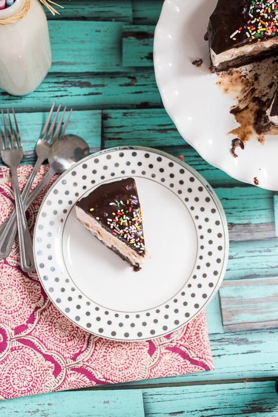 Brownie Funfetti Ice Cream Cake | girlinthelittleredkitchen.com