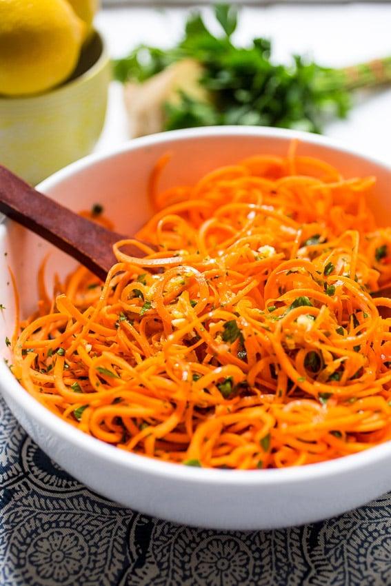 Carrot Salad with Lemon Ginger Dressing | girlinthelittleredkitchen.com