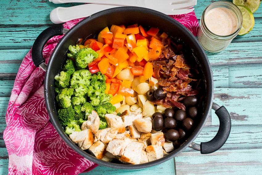 Chicken Chipotle Pasta Salad | girlinthelittleredkitchen.com