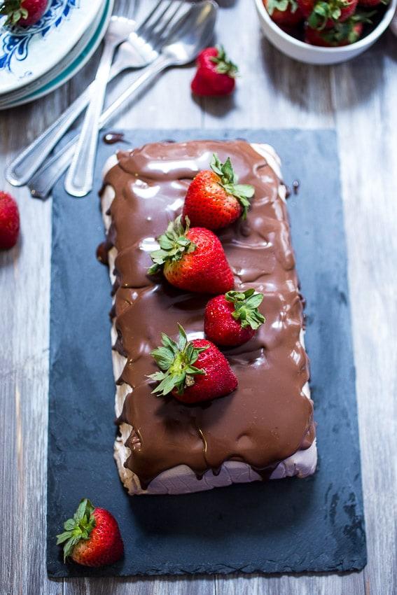 Chocolate Covered Strawberry Semifreddo | girlinthelittleredkitchen.com