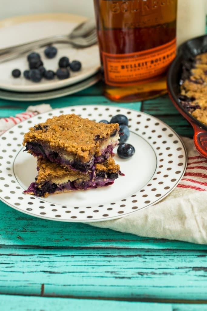 Blueberry Bourbon Buckle | girlinthelittleredkitchen.com