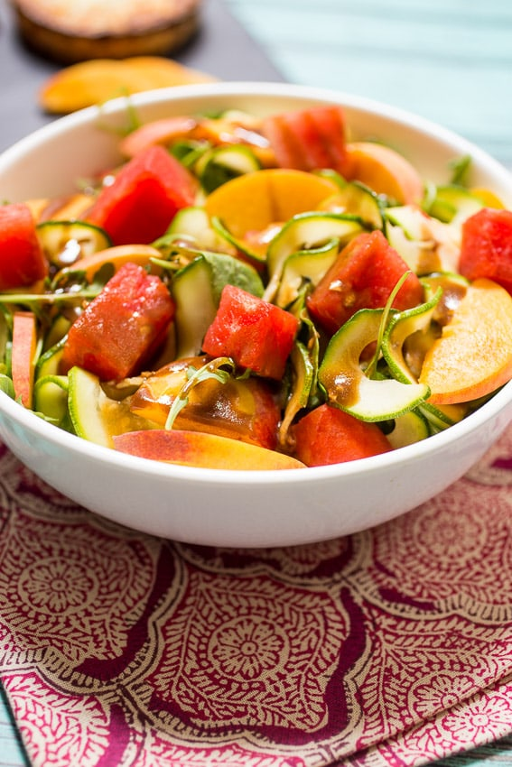 Zucchini Noodle Watermelon and Peach Salad from The Girl In The Little Red Kitchen