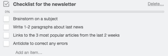 Checklist Newsletter