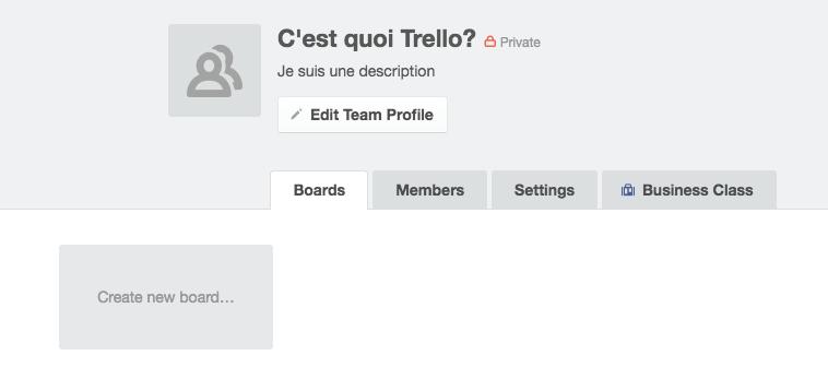 Équipe Page d'accueil Trello