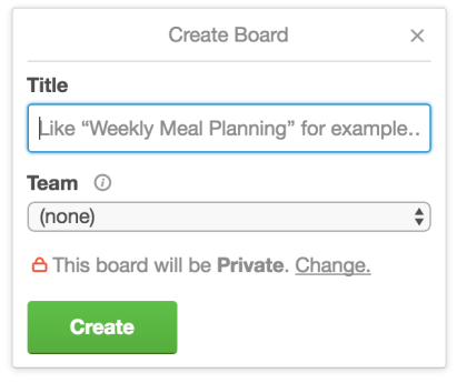 Create a new board Trello