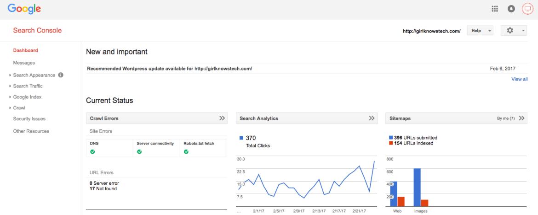 Google Console Blogging Tools
