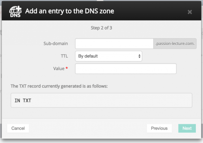 Add DNS TXT Entry