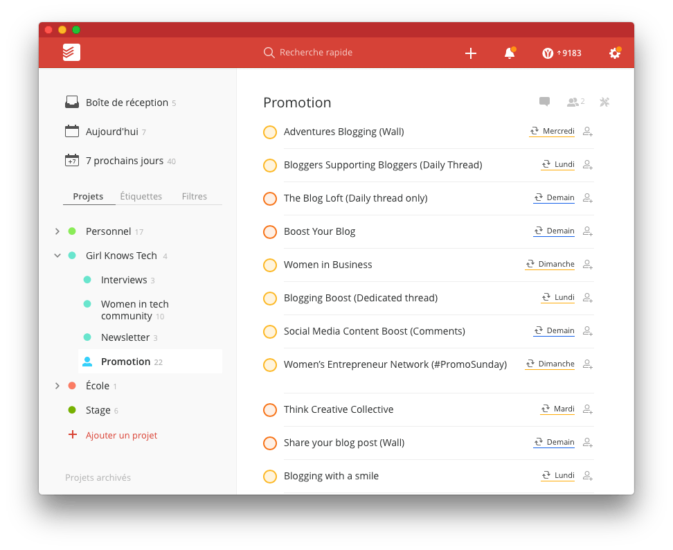 To do list on Todoist - Stay Focused