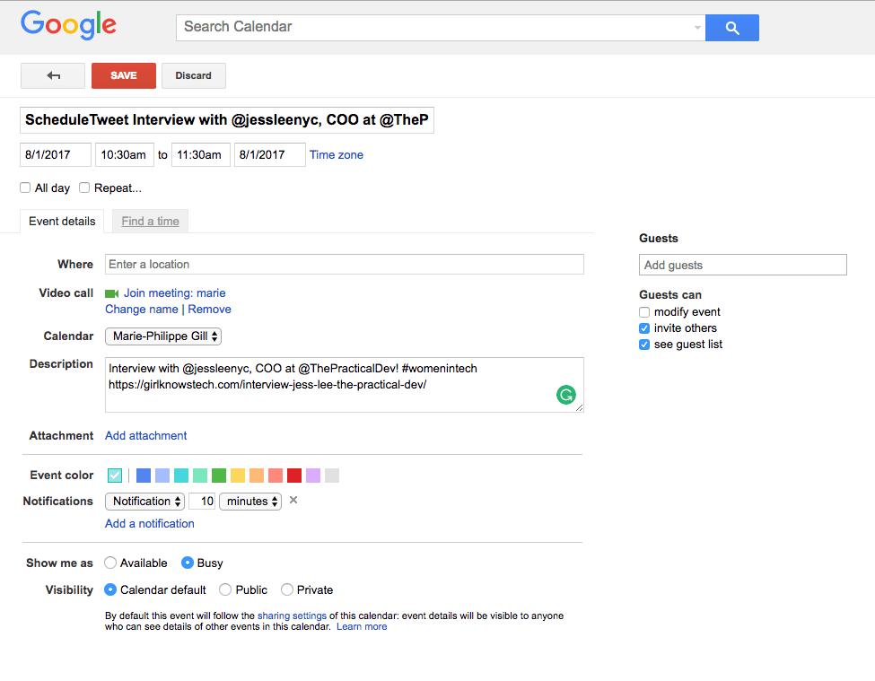 schedule tweets - edit event