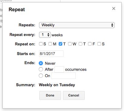 schedule tweets - repeat event