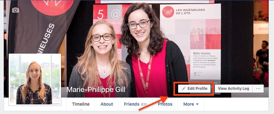 promotion facebook - modifier le profil