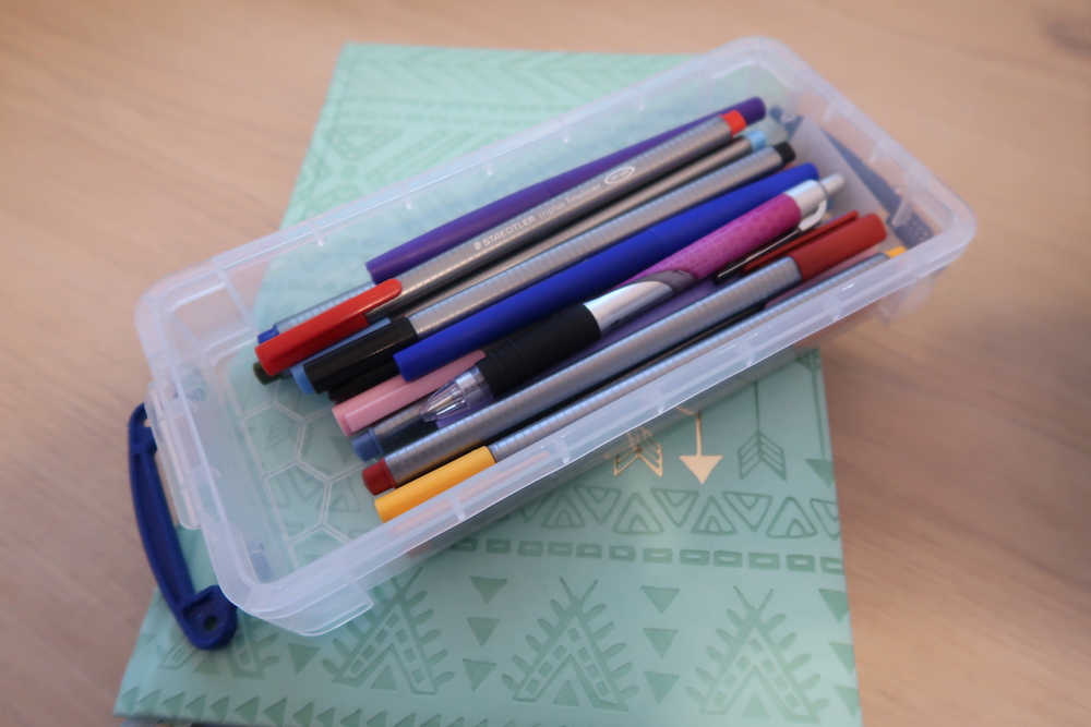Pencil case with colorful pens