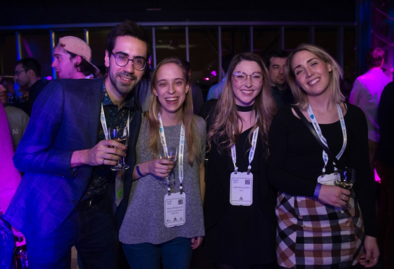 Marie and friends at the Element AI Party