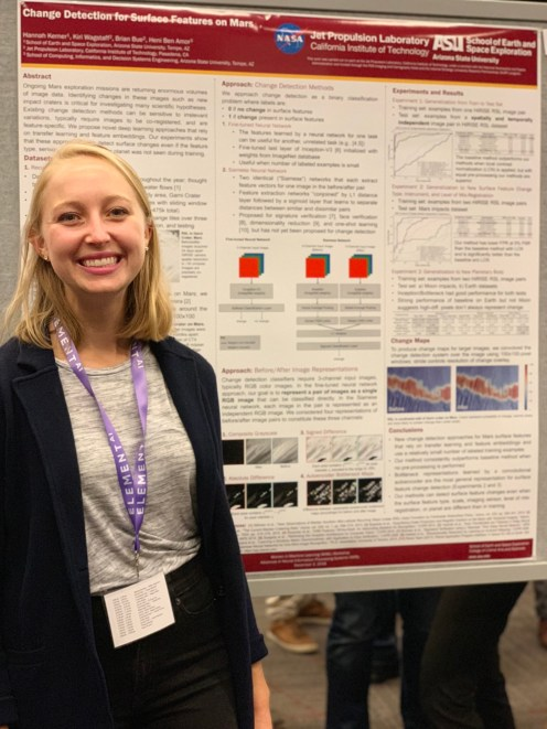 Hannah Kerner and her poster about Change detection for surface features on Mars