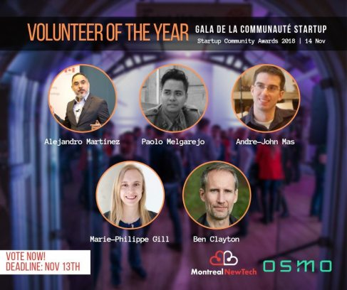 Volunteer of the year - Gala de la communauté startup - Accomplissements 2018