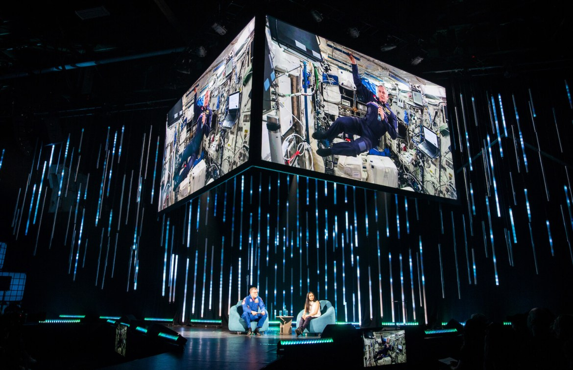 David St-Jacques in the ISS talking on stage at C2 Montreal