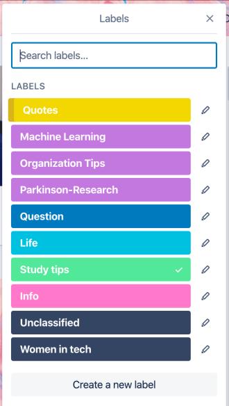 Liste des labels représentant les sujets des posts Instagram à publier sur votre compte