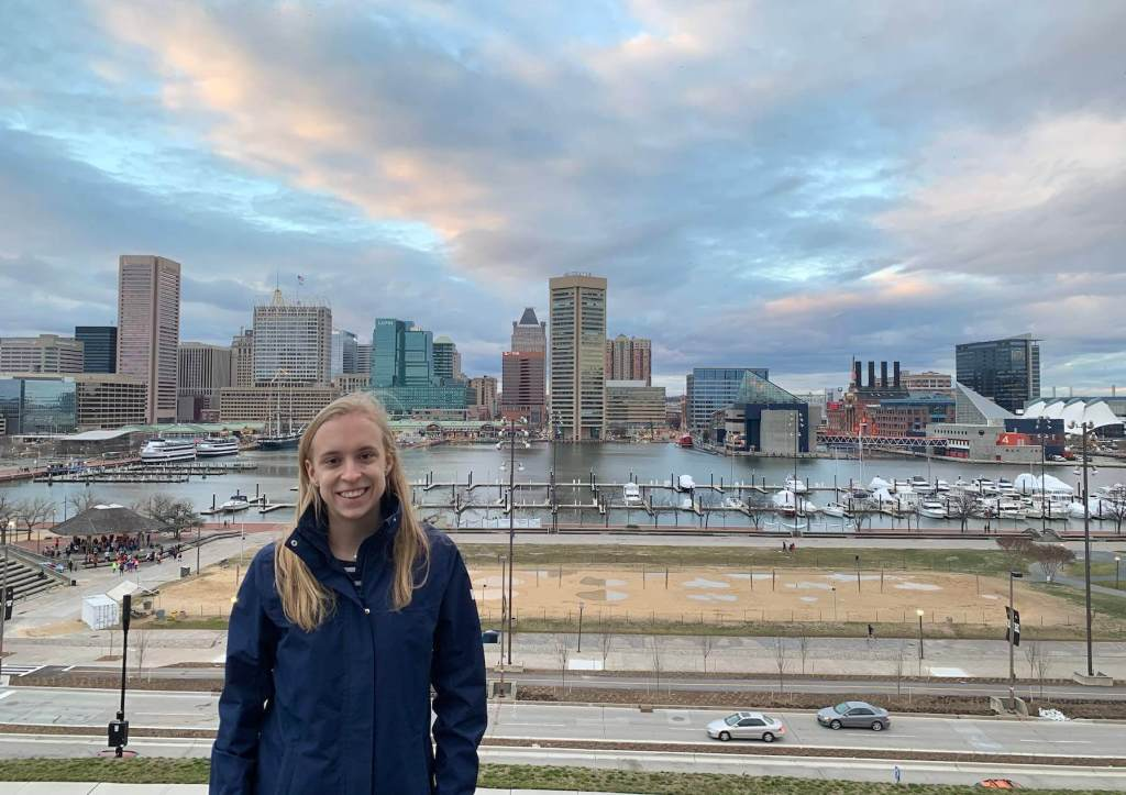 Marie-Philippe on Federal Hill in Baltimore for her research internship at Johns Hopkins University