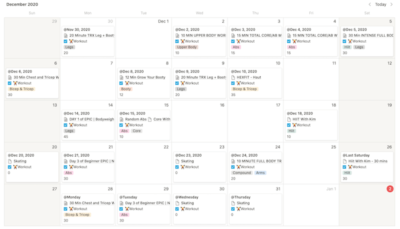 View of a Notion Calendar showing the workouts Marie did in the month of December 2020 - 2020 Annual Review