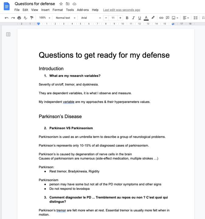 Capture d'écran du Google Docs utilisé par Marie-Philippe pour se préparer à défendre sa thèse. Le titre est «Questions to get ready for my defense », suivi de deux sous-titres : « Introduction » et «Parkinson's Disease »sous lesquels les questions sont écrites.