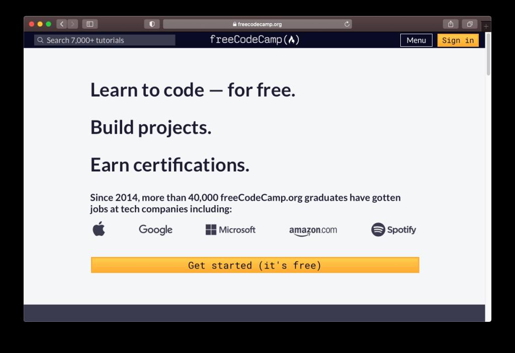 Capture d'écran de la page d'accueil de freeCodeCamp.