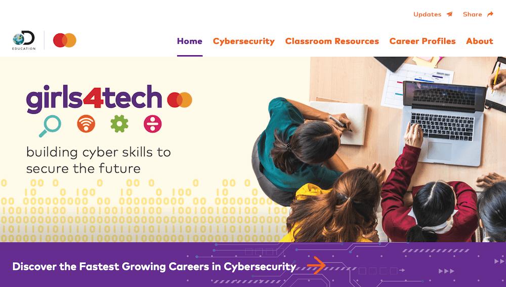 Capture d'écran de la page d'accueil du site web du programme Girls4Tech.