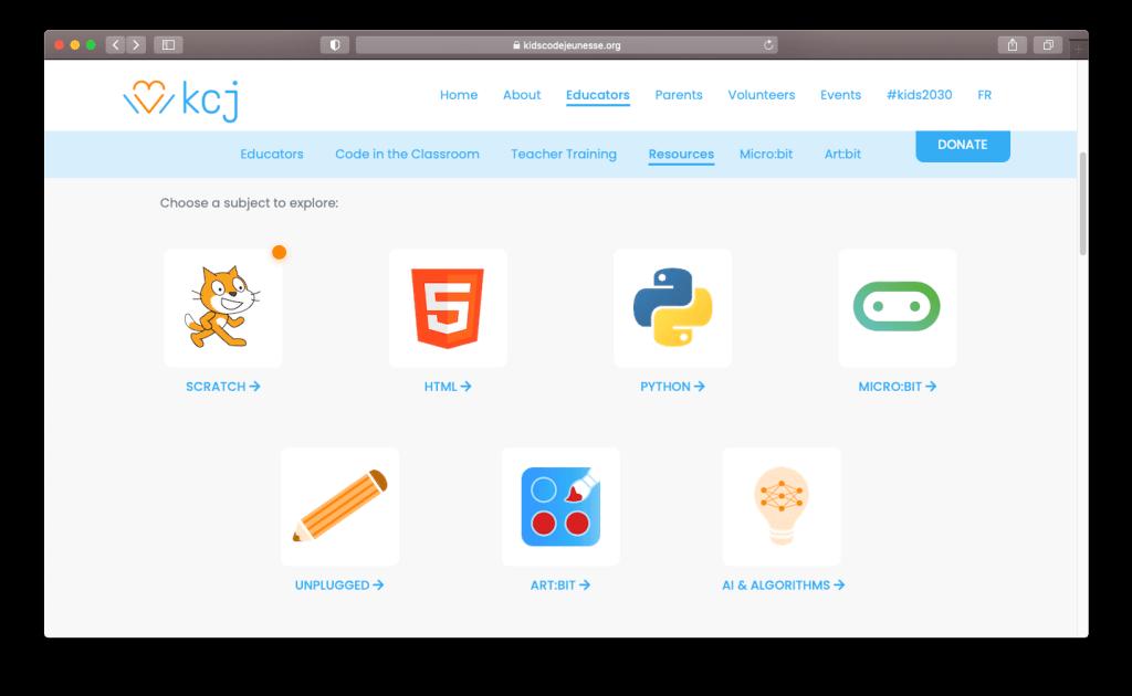 Capture d'écran de la page des ressources de Kids Code Jeunesse, une super ressources pour apprendre l'informatique aux enfants.