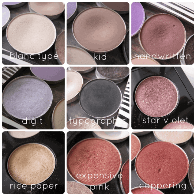 mac cosmetics eyeshadows blanc type, kid, handwritten, digit, typographic, star violet, ricepaper, expensive pink, coppering