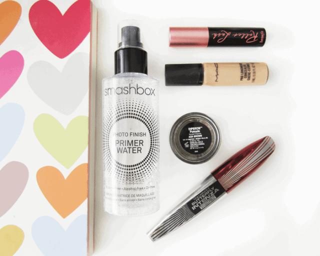 smashbox primer water, anastasia dip brow, loreal intenza mascara, mac pro longwear concealer, benefit roller lash mascara