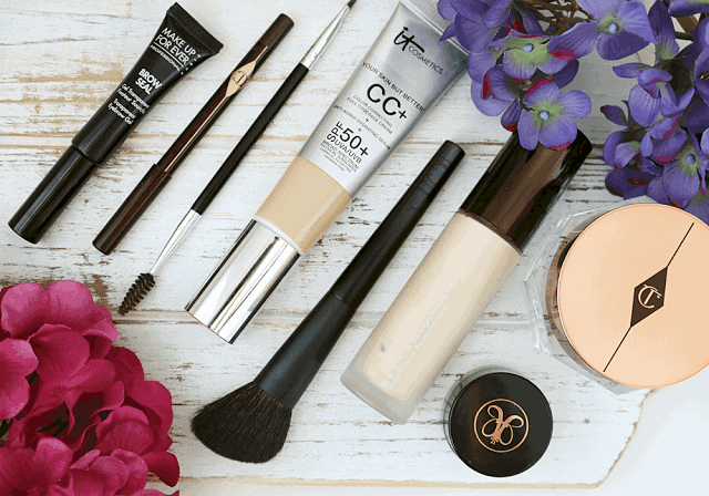 Make Up For Ever Brow Gel, Charlotte Tilbury Rock n Kohl Magic Cream, IT Cosmetics CC Cream, Anastasia Beverly Hills Dip Brow, Surratt beauty Sculpting Brush, Becca Backlight Priming Filter
