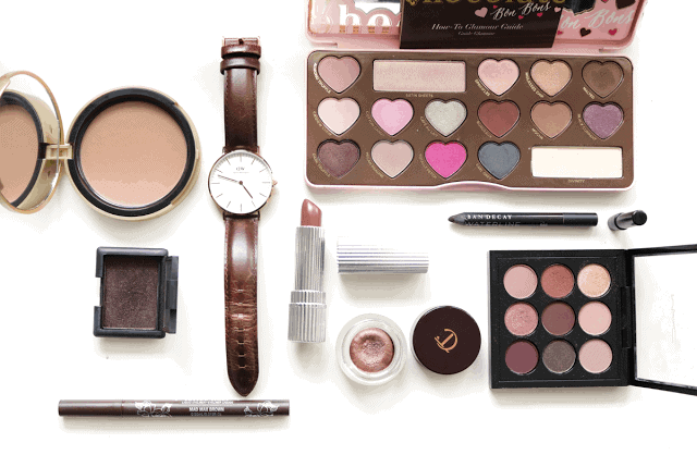 Favourite Chocolate themed beauty products and accessories including Too Faced, Daniel Wellington, Estee Edit, MAC, NARS, Charlotte Tilbury, Urban Decay