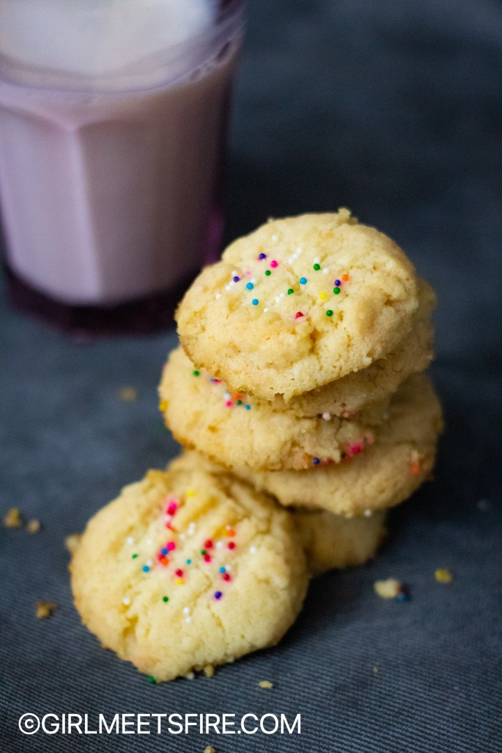 a overhead shot of a stack of sprinkle polvorones