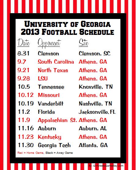 georgia game 2016 schedule