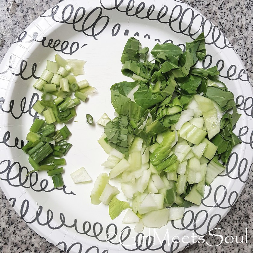 chopped bok choy and scallions