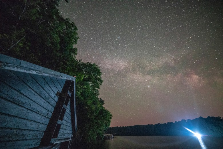 boathouse with milkyway stars