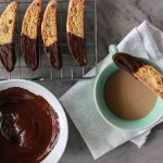 chocolate dipped almond biscotti and the great food blogger cookie swap