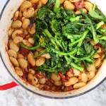 baked butter beans with broccoli rabe and garlic