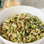 spring chickpea and barley salad with cashew-miso dressing