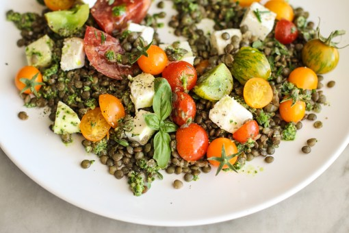 lentil caprese with kale pesto www.girlontherange.com