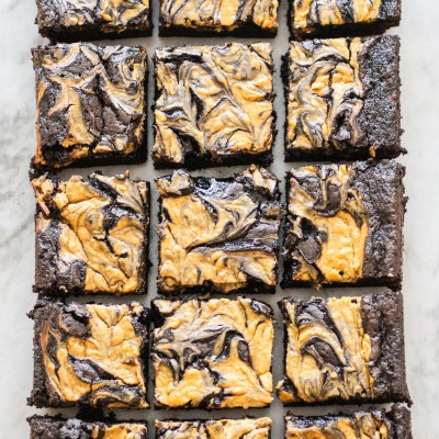 dark chocolate brownies with pumpkin cheesecake swirl