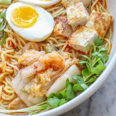 spicy kimchi ramen noodle bowl