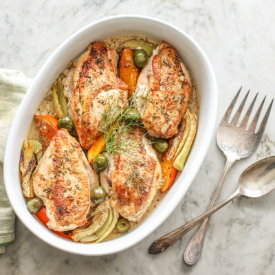 roasted chicken with citrus, fennel and olives