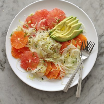 shaved fennel, citrus and avocado salad