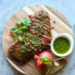 spice rubbed flank steak with chimichurri sauce
