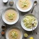 white bean soup with shaved fennel and celery leaf salad