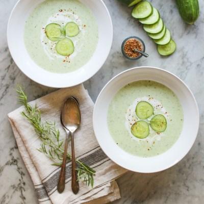 chilled cucumber, yogurt, and tarragon soup