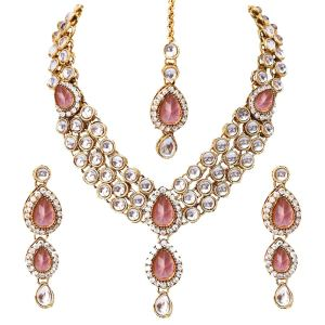 18k Gold Plated Kundan Wedding Party Wear Stylish Necklace Jewellery Set for Women