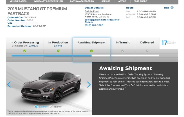 2015 Ford Mustang GT Awaiting Shipment