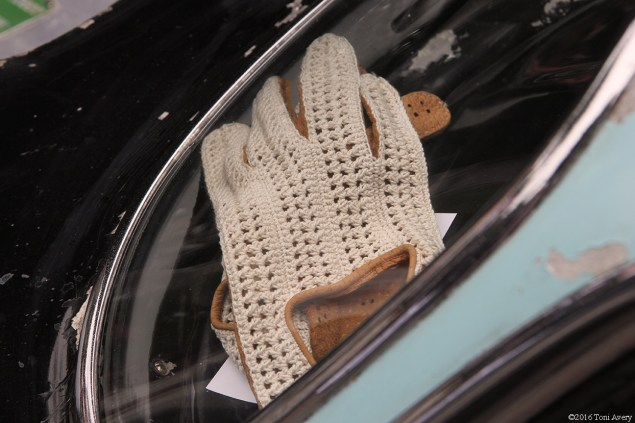 Concours on the Avenue unrestores Maserati gloves in window