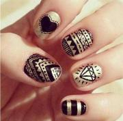 simple black nail art design &